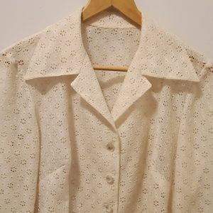 Vintage Woman's Top Lacey Eyelet